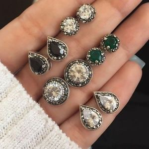 Jewelry - Set of 5 Antique Style Crystal Earrings
